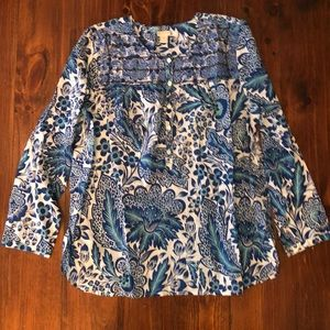 J Crew Embroidered Floral Blue White Peasant Top